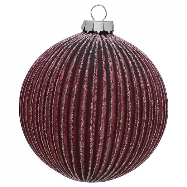 Greengate XMas Ball Glass Penelope Plum Glitter, large