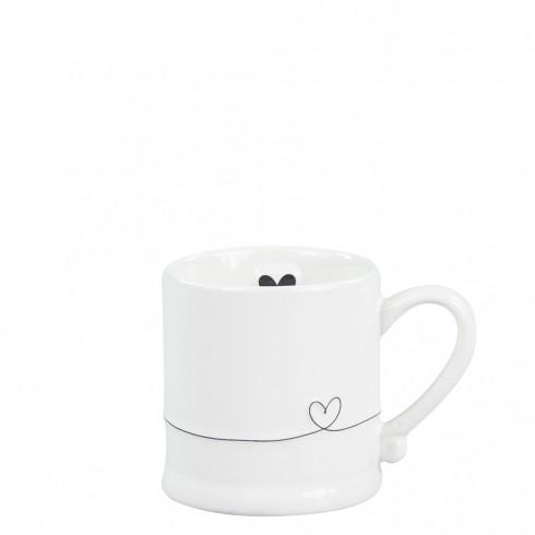 Bastion Collections Espressotasse White/Line Heart in Black