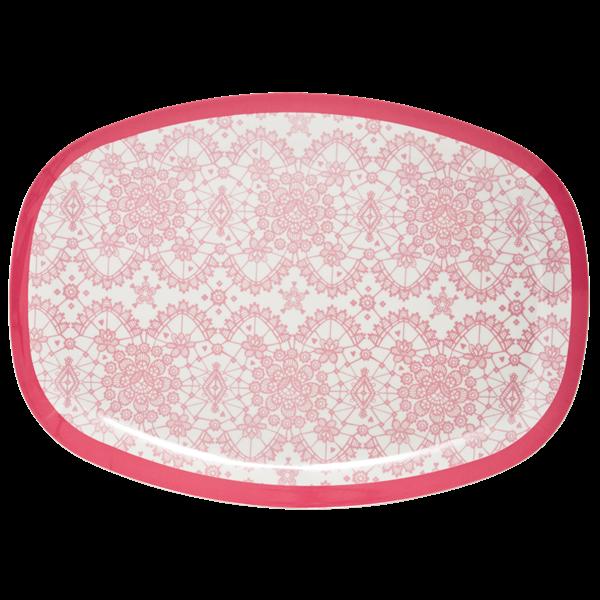 Rice Melamin Teller/Platte, Lace Print