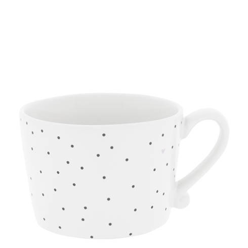 Bastion Collections Mug White / Dots in Black & heart Rose