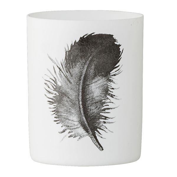 Bloomingville Teelichthalter Feder, schwarz-weiß