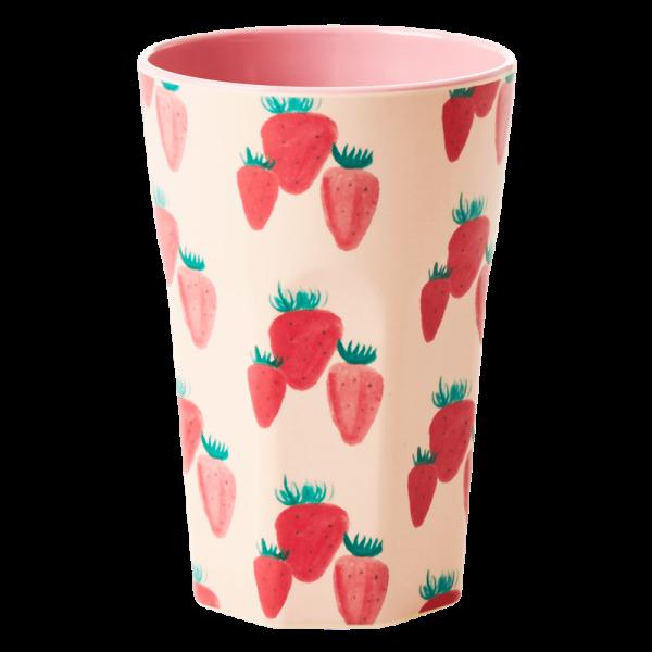 Rice Melamin Latte Becher, Strawberry Print