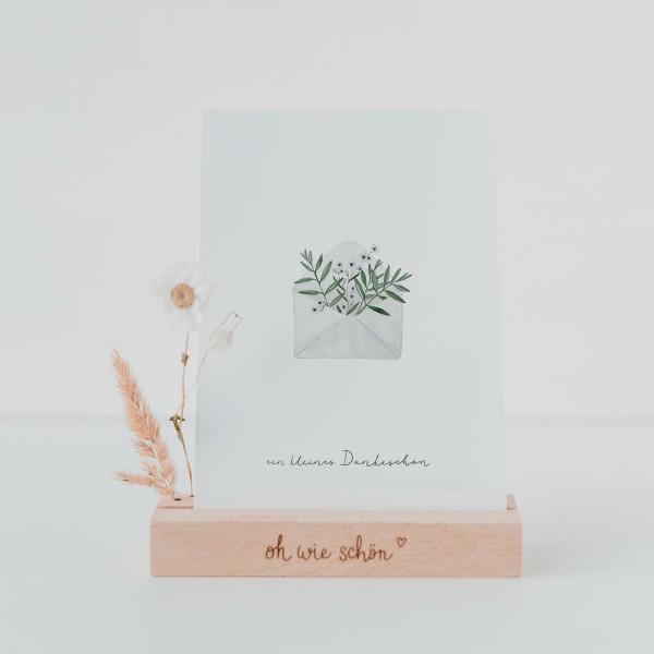 Eulenschnitt Postkarte Dankeskarte, Blumenumschlag
