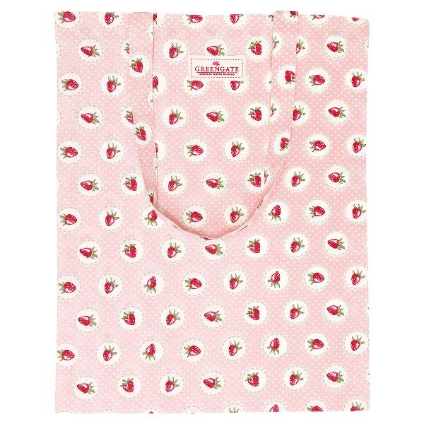 GreenGate Stofftasche / Bag Cotton Strawberry pale pink