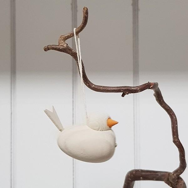 Holzvogel Weiß, zum Aufhängen