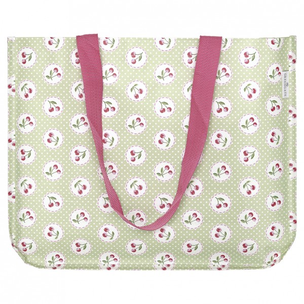 GreenGate Shopper Cherry Berry Pale Green, round bottom
