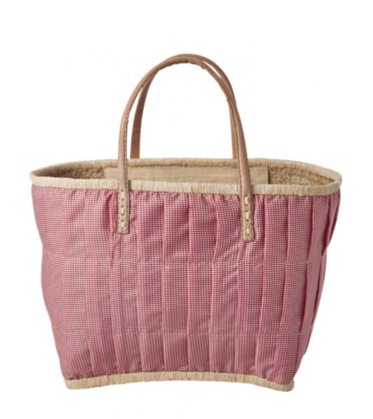 Rice Korb/Einkaufstasche, Vichy-Karo Rot mit Ledergriffen, medium