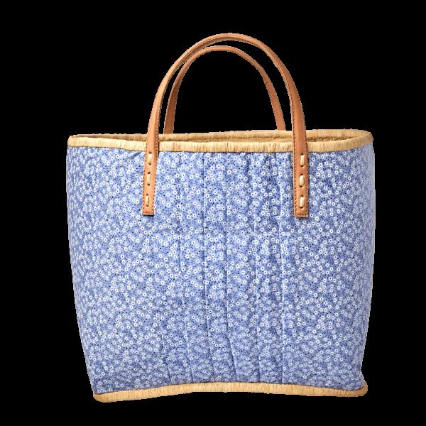 Rice Korb/Einkaufstasche, Blumen Blau mit Ledergriffen, large