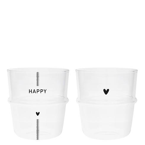 Bastion Collections Tumbler / Wasserglas Happy und Herz im 2er Set