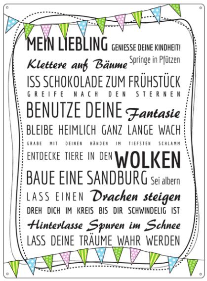 """Metallschild """"Mein Liebling"""""""