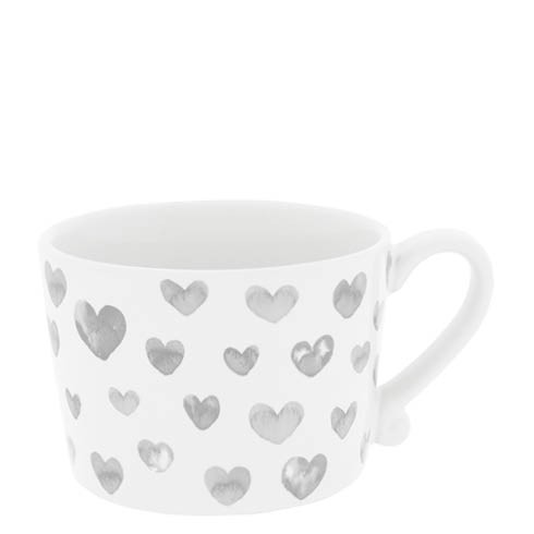 Bastion Collections Cup White / Hearts in watercolor Grey