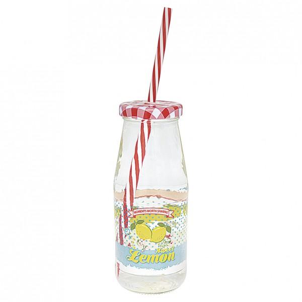GreenGate Glasflasche / Bottle Limona Pale Blue mit Deckel/Trinkhalm