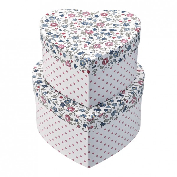 Greengate Aufbewahrungsboxen Herz Ruby Petit White im 2er Set