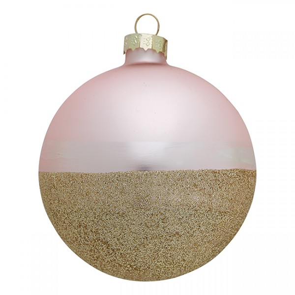 Greengate XMas Ball Glass Penelope Gold w/Pale Pink