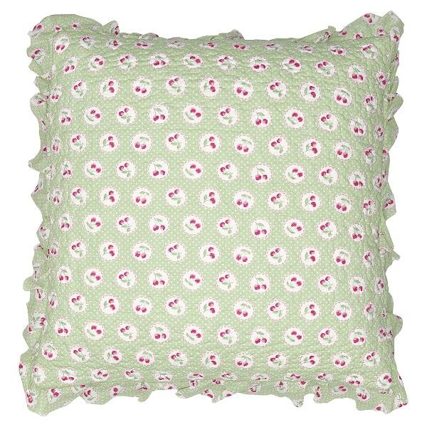 GreenGate Kissenhülle Cherry Berry Pale Green w frill, 50 x 50 cm