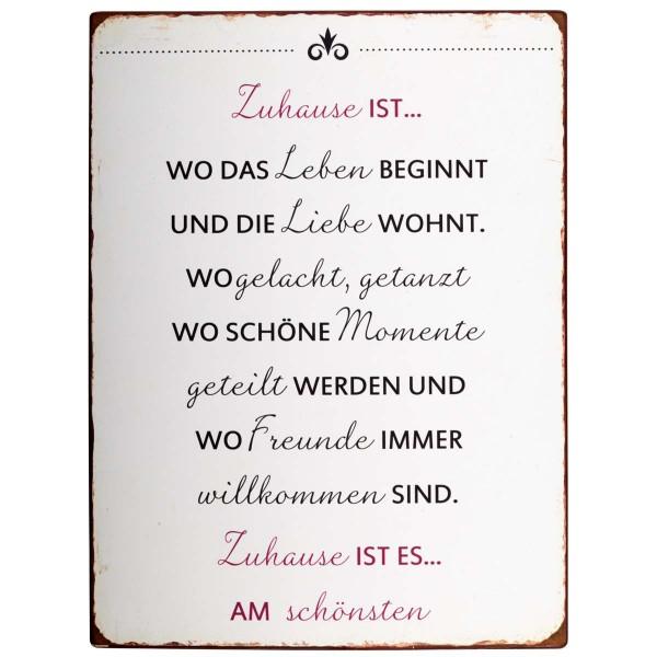 """Ib Laursen Metallschild """"Zuhause"""""""