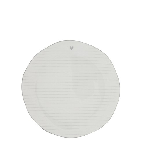 Bastion Collections Teller / Cake Plate Stripes White/edge Grey