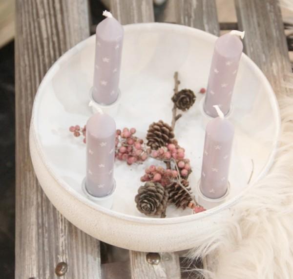 Kerzenschale für 4 Stabkerzen, klein, weiß