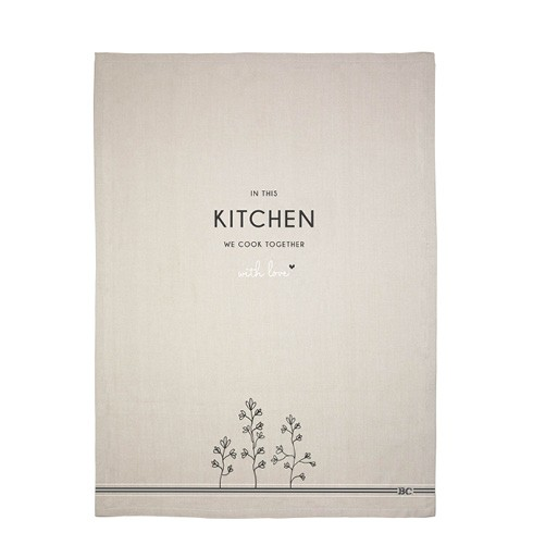 Bastion Collections Geschirrtuch Kitchen - we cook together, Naturel