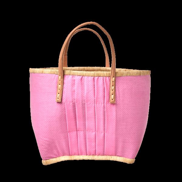Rice Korb/Einkaufstasche, Punkte Pink mit Ledergriffen, medium