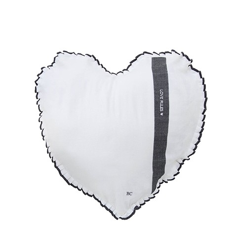 Bastion Collections Kissen Heart White Chambray Follow Your Heart