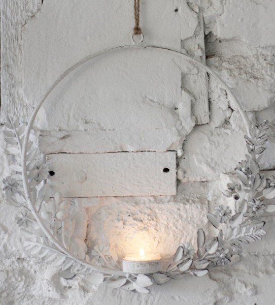 Metallring/-kreis mit Teelichthalter Blütenhalbkreis