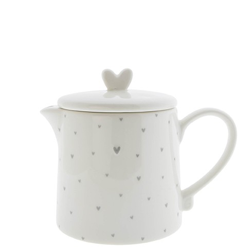 Bastion Collections Teekanne / Teapot Small Hearts in Grey