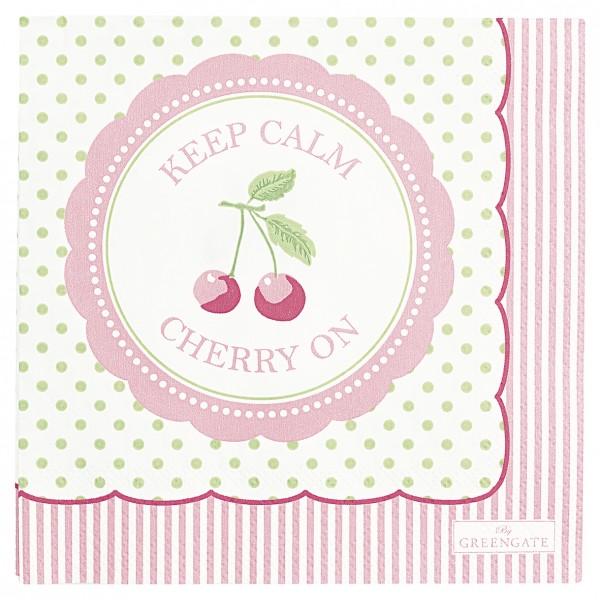 GreenGate Kleine Papierserviette Cherry berry pale green