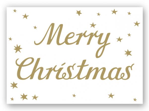 Krima & Isa Postkarte Merry Christmas, gold