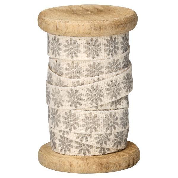 Greengate Geschenkband auf Holzspule, Bianca Warm Grey