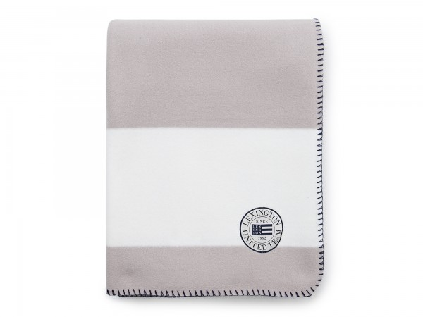 Lexington Block Striped Fleece Throw, white/gray