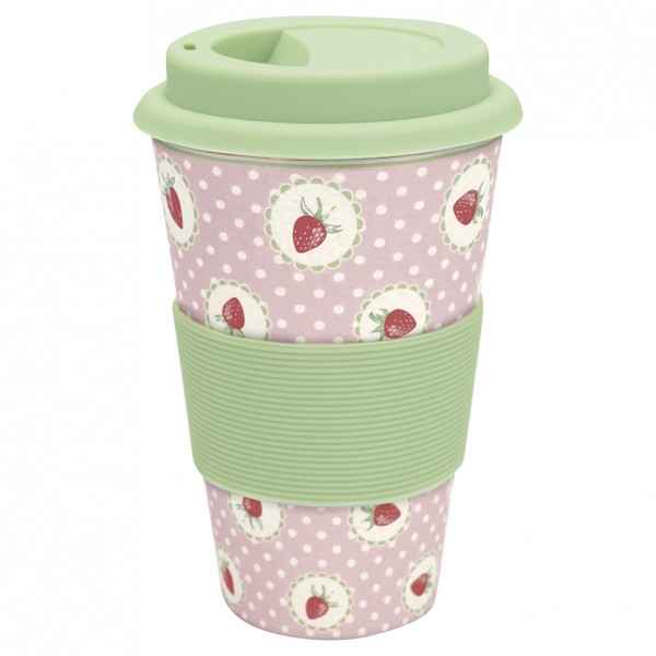 GreenGate Bambus Travel Mug Strawberry Pale Pink
