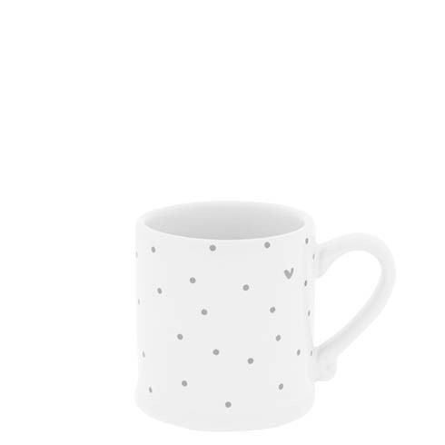 Bastion Collections Espressotasse White/Little Dots and Heart in Grey