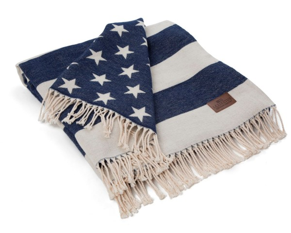 Lexington Flag Throw / Plaid, white/navy