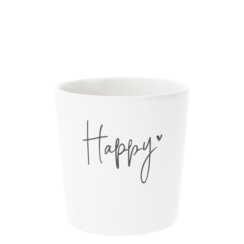 Bastion Collections Becher / Mug White/Happy in Black