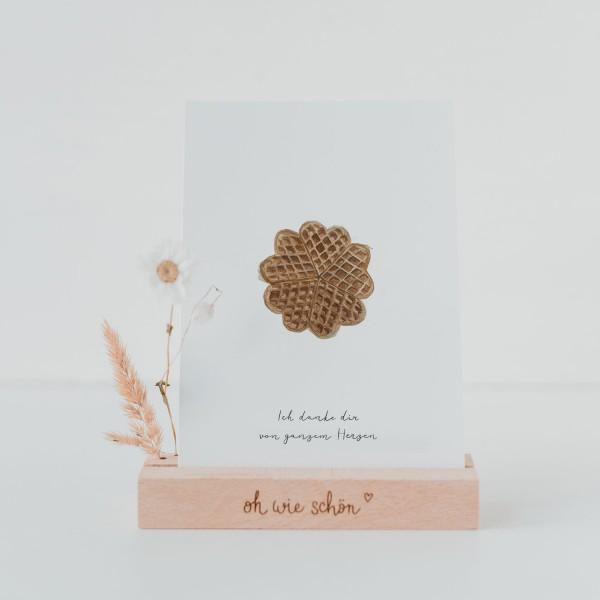 Eulenschnitt Postkarte Dankeskarte, Herzwaffel