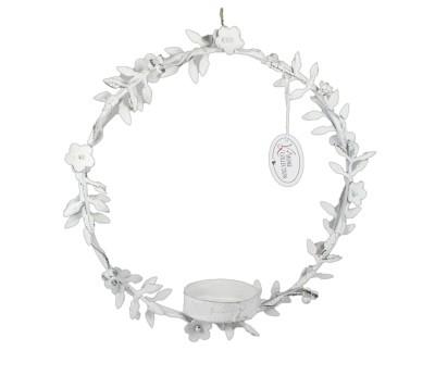 Metallring/-kreis mit Teelichthalter Blüten in weiß, klein