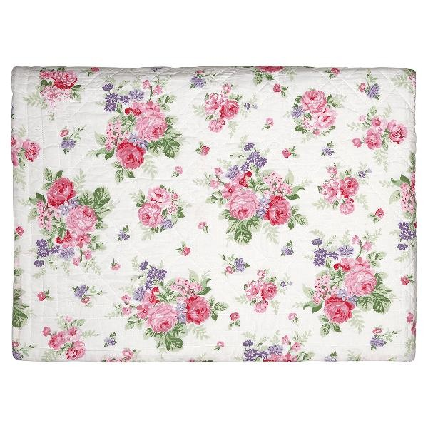 GreenGate Quilt / Bed Cover Rose White