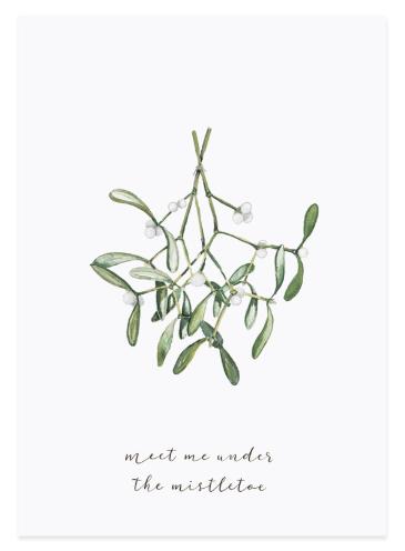 Eulenschnitt Postkarte Mistletoe