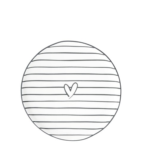 Bastion Collections Teller / Cake Plate Stripes and Heart in Black