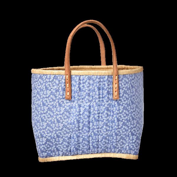 Rice Korb/Einkaufstasche, Blumen Blau mit Ledergriffen, medium