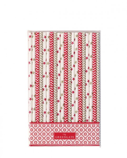Greengate Paper Straws Bianca Red, 20 Stüclk
