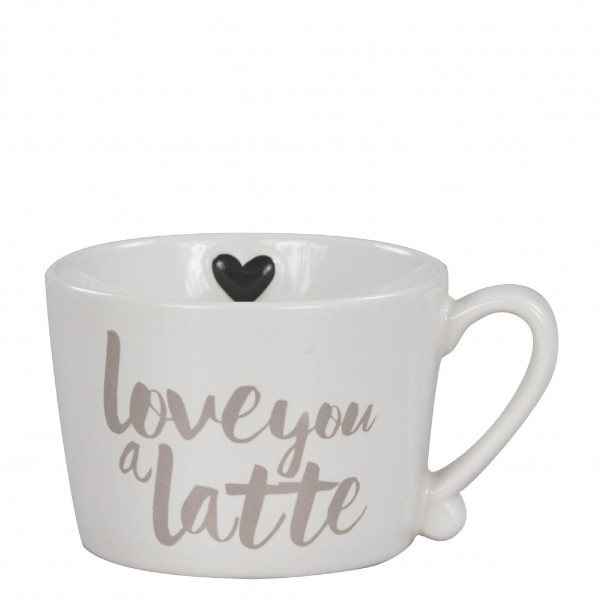 "Bastion Collections Mug White/Titane ""Love you a latte"""