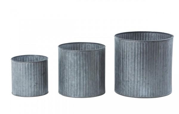 Zinktopf mit Rillen (3), grau