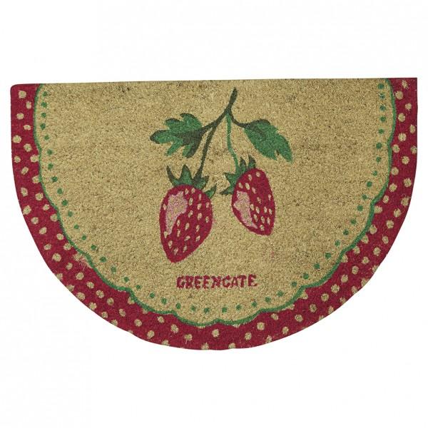 Greengate Fussmatte / Doormat Strawberry Red half round