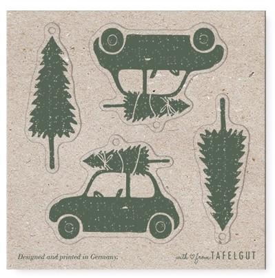 "Tafelgut, Gift Tag Karte ""Tree & Beetle"", quadratisch"