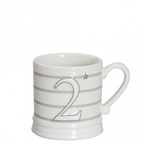 Bastion Collections Mug Small White/2 Grey & Stripes Titane