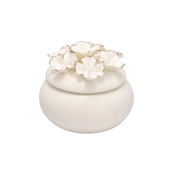 Greengate Schmuckdose / Jewelry box Flower white w/gold small