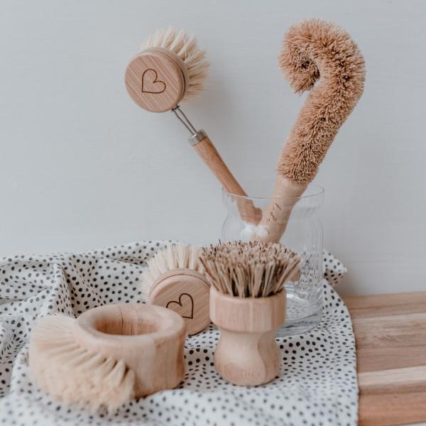 Eulenschnitt Spülbürsten aus Holz, 5er Set