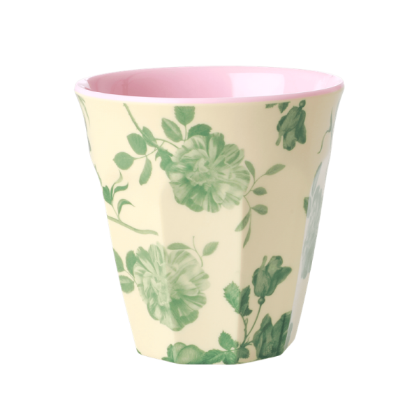 Rice Melamin Becher, Green Rose Print